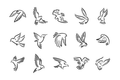 Flying birds icons illustration set.