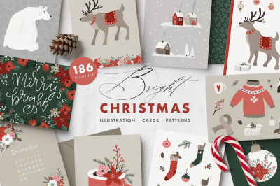 Bright Christmas illustrations, cards, patterns