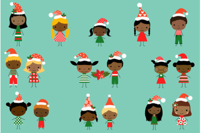 Cute Christmas Stick Figures Clipart, Multicultural Multiracial kids,