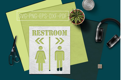 Restroom Sign Papercut Template, Toilet Decor, SVG, PDF DXF