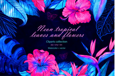 Neon tropical flowers and leaves