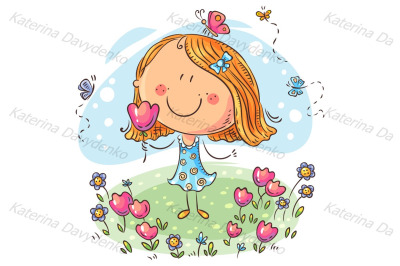 Cartoon girl with flowers