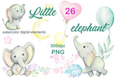 Cute baby elephants. Watercolor tropical set. Elephant, tropical plant