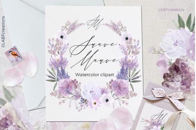 Suave Mauve floral watercolor clipart.