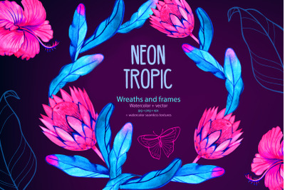 Neon tropical wreaths and frames