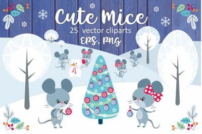 Cute mice. Vector clip arts.