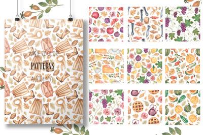 Watercolor patterns. Autumn.