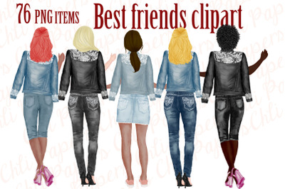 Best Friends Clipart,Jeans and legs,Bridesmaid clipart,