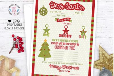 Letter to Santa Christmas Wish List Printable