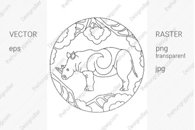 Coloring page with animals. Rhinoceros