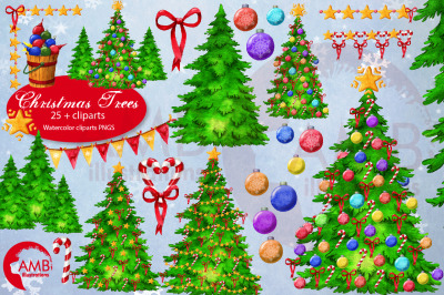 Christmas Trees watercolor set AMB-2677