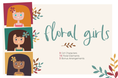 Floral Girls Clipart Pack