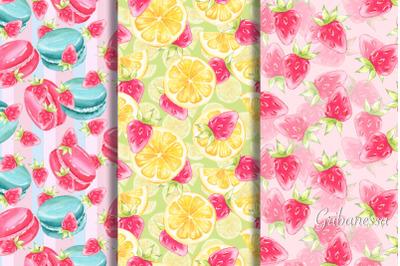 Sweet watercolor patterns. Set 2