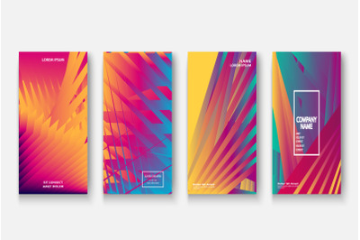 Modern business geometric neon colors template covers design