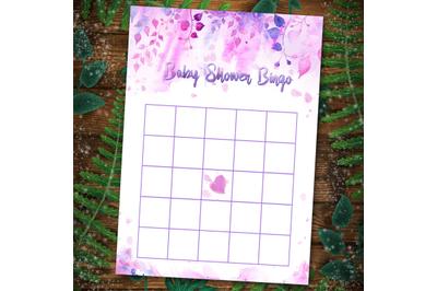 Floral Baby Shower Bingo Games template printable