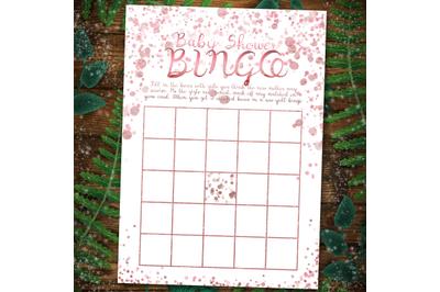 Rose gold Baby Shower Bingo Games template