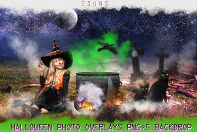 55 Halloween overlays, Pumpkin, Raven clipart