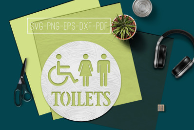 Toilets Sign Papercut Template, Toilet Decor, SVG, PDF DXF