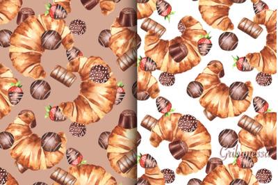 Sweet watercolor patterns. Set 1