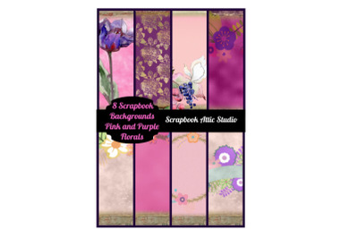 8 Pink and Purple Floral Scrapbook Backgrounds