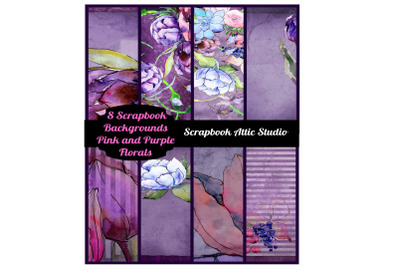 8 Purple and Pink Floral Scrapbook Backgrounds