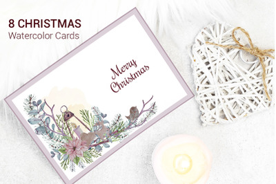 Merry Christmas Watercolor Greeting Cards. Happy New Year