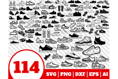 114 SNEAKERS SVG BUNDLE - sneakers clipart - sneaker shoes vector