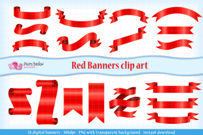 Red Banners clip art