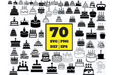 70 BIRTHDAY CAKE SVG - cake clipart - birthday cake vector - birthday