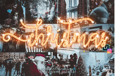 5 Christmas presets lightroom, dng, desktop mobile