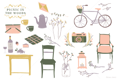 Picnic in the Woods - Autumn Fall Clipart Graphics Set - Bike Kite Wine Lantern Grape Cheese Food