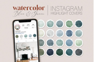 Blue Green Watercolor Instagram Story Covers