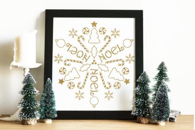 Circular Christmas Mandala Art   SVG   PNG   DXF