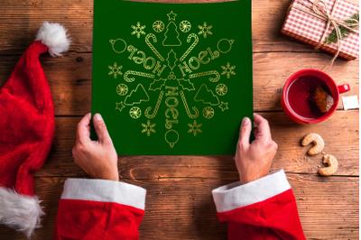 Circular Christmas Mandala Art Single Line Sketch for Pens   SVG   PNG