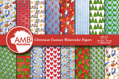 Christmas Gnomes, Nordic gnomes papers AMB-2679