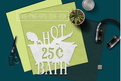 Hot Bath Sign Papercut Template, Bathroom Decor, SVG, PDF