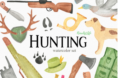 Hunting Watercolor Clipart Set