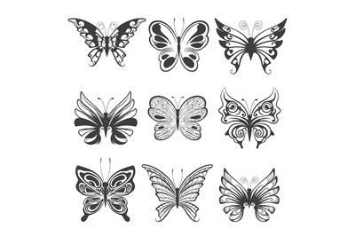 Hand Drawn Butterflies set isolated on white background