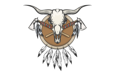 Native Americans Emblem with Bull skull and shield with tomahawk