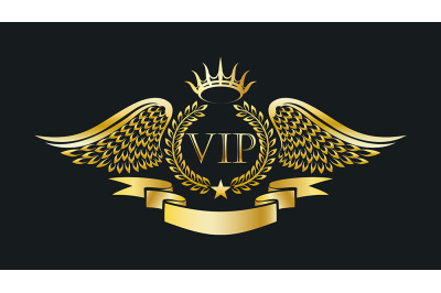 Golden VIP Emblem with Laurel Wreath and Eagle Wings