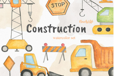 Construction Site Watercolor Clipart