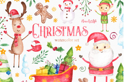 Christmas Watercolor Clipart Set
