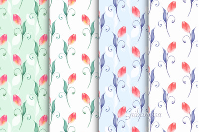 Spring fied. Watercolor patterns