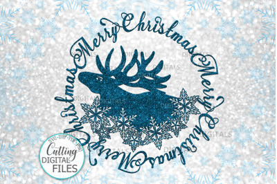 Merry Christmas Moose Snowflakes circle framed svg cut out file