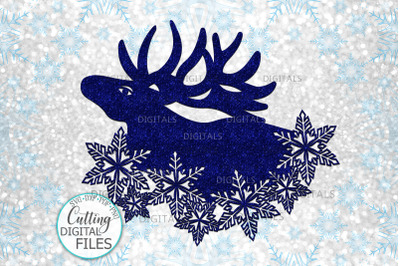 Christmas Moose with Snowflakes svg cut out template