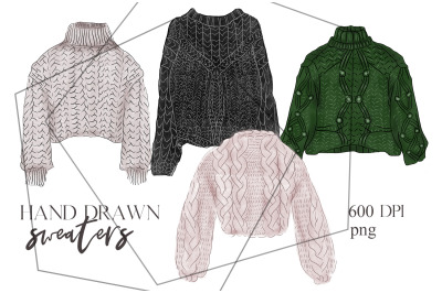 Hand drawn winter/autumn clothes set (knitted sweaters)
