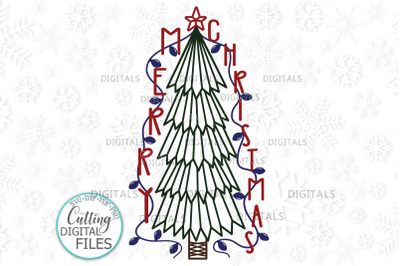 Vertical Primitive Merry Christmas Tree porch sign svg cut