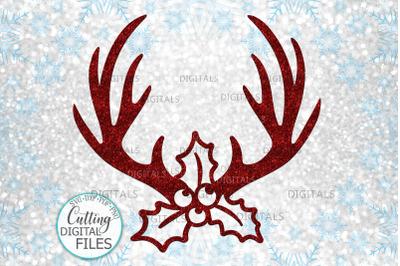 Christmas Reindeer deer antlers with Holly berries svg cut