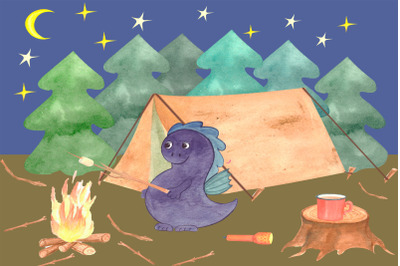 camping watercolor illustration.
