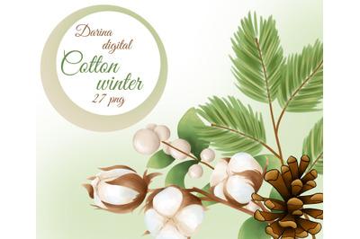 Cotton winter clipart